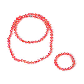 2 Piece Set -  Simulated Red AB Crystal Necklace (Size 36) with Magnetic Lock and Stretchable Bracel