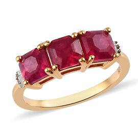 2.50 Ct Niassa Ruby and Diamond Trilogy Ring in 14K Gold Plated Sterling Silver
