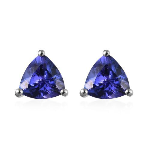 RHAPSODY 1.25 Ct AAAA Tanzanite Solitaire Stud Earrings (with Screw Back) in 950 Platinum