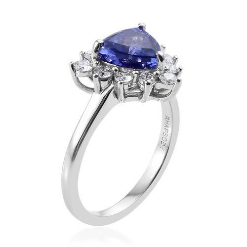 Collectors Edition- RHAPSODY 950 Platinum AAAA Tanzanite (Trl 1.50 Ct) and Diamond (Rnd 0.500 ct., VS/E-F) Ring 2.000 Ct., Platinum wt 5.70 Gms.