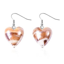 Brown Colour Murano Glass Heart Hook Earrings in Rhodium Overlay Sterling Silver.