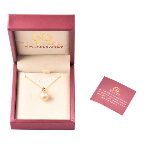 Galatea Pearl - Golden South Sea Momento Talking Pearl Pendant with Chain (Size 18) in Yellow Gold Overlay Sterling Silver