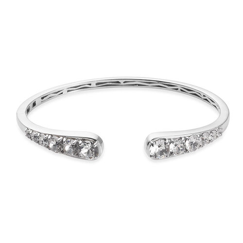J Francis White Crystal from Swarovski Cuff Bangle in Platinum Plated 7.5 Inch