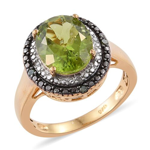 Limited Edition Design - AAA Hebei Peridot (Ovl), Green and White Diamond Ring in Platinum and Yello