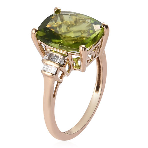 Collectors Edition 9K Yellow Gold Hebei Peridot (5.25 Ct), Diamond Ring 5.35 Ct.