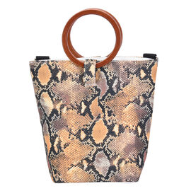 Impressive Snake Head Pattern Tote Bag in Unique Wooden Handle Drops with Zipper Closure (Size:32x12x29Cm) - Black and Yellow
