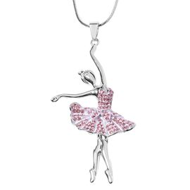 Pink Austrian Crystal (Rnd) Ballerina Pendant With Chain (Size 29 with 2 inch Extender) in Silver To