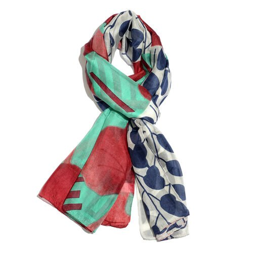 100% Mulberry Silk Blue, Green, Red and Multi Colour Leaves Printed Scarf (Size 180x100 Cm)