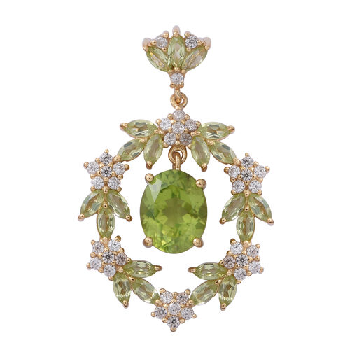 Hebei Peridot (Ovl), Natural Cambodian White Zircon Pendant in Yellow Gold Overlay Sterling Silver 4.930 Ct, Silver wt 5.00 Gms.
