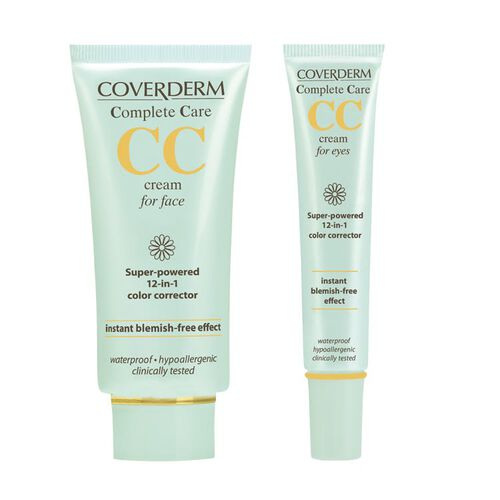 Coverderm: Complete Care CC Cream for Face (Light Beige) - 40ml (With Free CC Cream for Eyes - Light