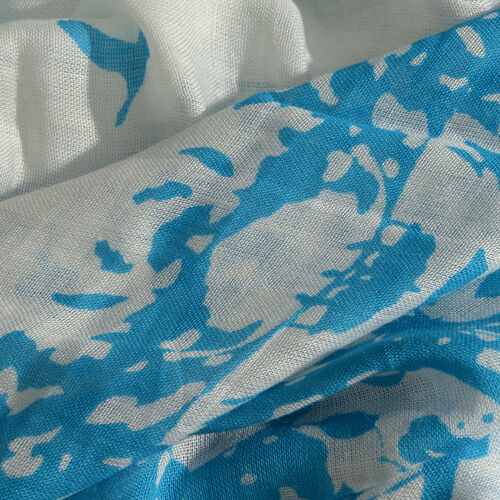 Blue and White Colour Flying Birds Printed Scarf with Fringes (Size 180X100 Cm)