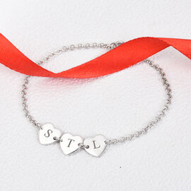 Personalised Engravable Initial Multi Heart Disc Bracelet Size 7.5Inch