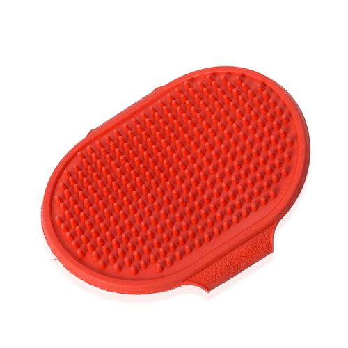 Red and Blue Colour Pet Bath Shampoo Stoup and Brush Set (Size 10.5x8 Cm)