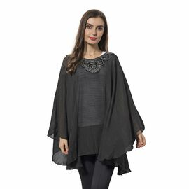 Black Colour Poncho with Floral Collar (Size 136x78 Cm)