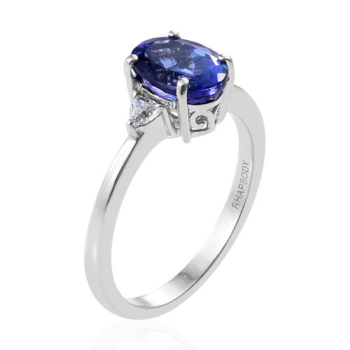RHAPSODY 950 Platinum AAAA Tanzanite (Ovl 2.55 Ct), Diamond (VS/E-F) Ring  2.750 Ct, Platinum wt 5.2 Gms.