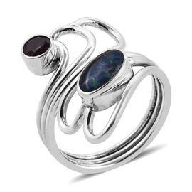 Royal Bali 1.91 Ct Boulder Opal and Mozambique Garnet Bypass Ring in Sterling Silver 5.6 Grams