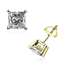 14K Yellow Gold Diamond (I2/G-H) Solitaire Stud Earrings (with Screw Back) 0.50 Ct.