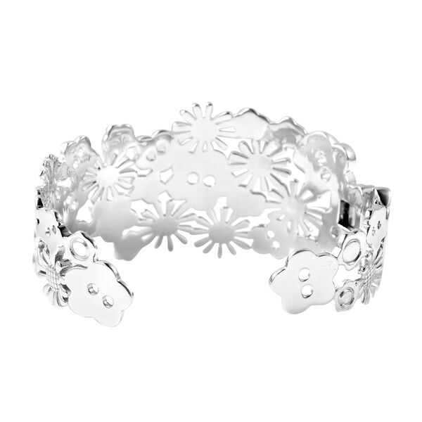 LucyQ Floral Collection - Rhodium Overlay Sterling Silver Cuff Bangle (Size 7), Silver Wt. 43.79 Gms