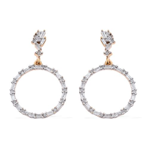Designer Inspired- Fireworks Diamond (Rnd and Bgt) Circle Earrings (with Push Back) in 14K Gold Overlay Sterling Silver 0.500 Ct.
