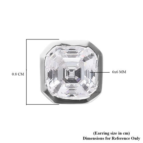 J Francis Sterling Silver Stud Earrings (with Push Back) Made with SWAROVSKI ZIRCONIA 3.00 Ct.