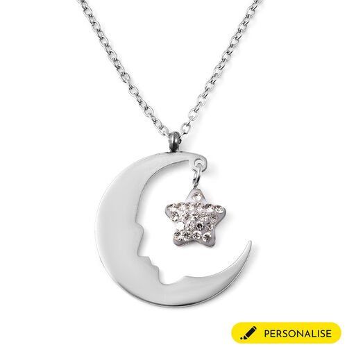 Personalise Engravable Moon & Star Steel Necklace, Size 18+2 Inch