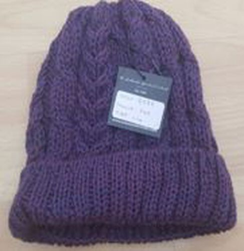 Aran 100% Pure Woollen Mills Cable Irish Hat in Denim Blue Colour (One Size)
