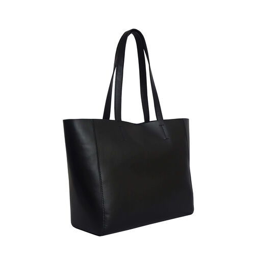 Assots London Abingdon Full Grain 100% Genuine Leather Tote Bag with Magnetic Closure (Size 32x12x28cm) - Black