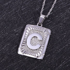 Initial C Pendant with Chain (Size 22) in Stainless Steel