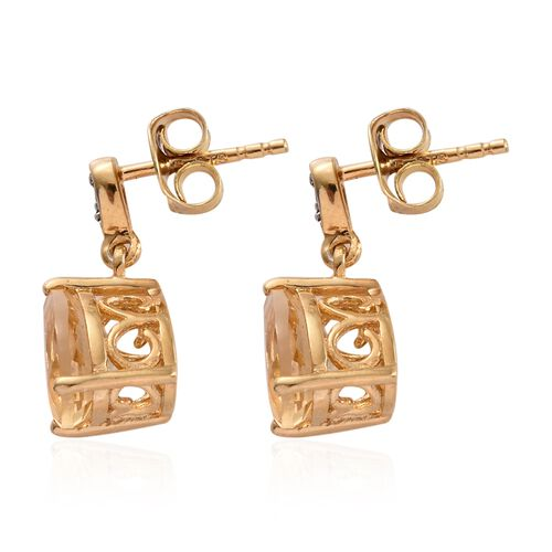 Citrine (Pear), Natural Cambodian Zircon Earrings (with Push Back) in 14K Gold Overlay Sterling Silver 3.750 Ct.