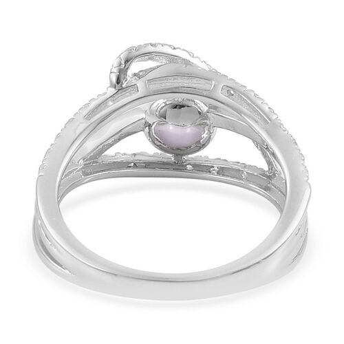 Japanese Akoya Pearl (Rnd), White Topaz Ring in Platinum Overlay Sterling Silver 2.330 Ct Size T