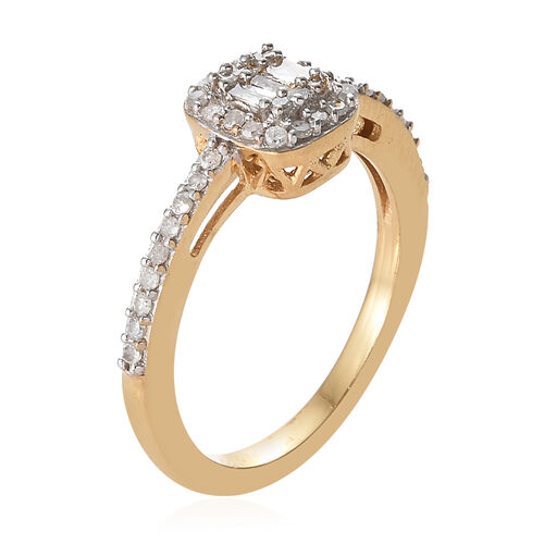Diamond (Rnd and Bgt) Cluster Ring in 14K Gold Overlay Sterling Silver