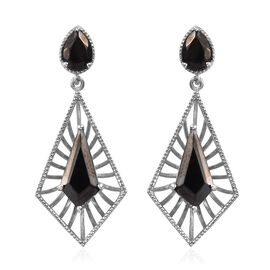 3.25 Ct Elite Shungite Drop Earring in Platinum Plated Sterling Silver 5.62 Grams