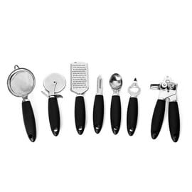 Set of 8 - Kitchen Ware (Includes Can Opener, Peeler, Ice Cream Spoon, Pizza Cutter, Bottle Opener,