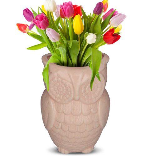 Owl Design Ceramic Multipurpose Holder (Size 19x9cm) - Light Pink