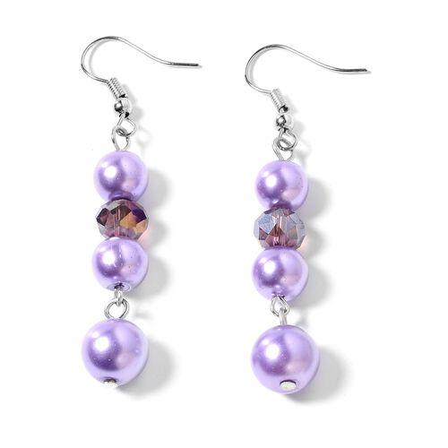 Simulated Purple Pearl (Rnd) BIB Necklace, Hook Earrings and Bracelet  in Silver Bond.
