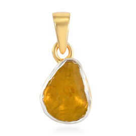 Yellow Polki Diamond Pendant in 14K Gold Overlay Sterling Silver 0.50 Ct