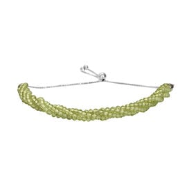 Hebei Peridot Beads Bolo Bracelet (Size 6.5-9.5 Adjustable) in Platinum Overlay Sterling Silver 22.5