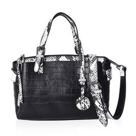 100% Genuine Leather Croc Embossed Tote Bag with Detachable Shoulder Strap and Zipper Closure (Size