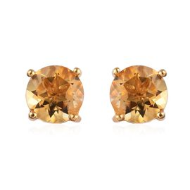 Citrine (Rnd) Stud Earrings (with Push Back) in 14K Gold Overlay Sterling Silver 2.500 Ct.