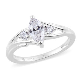 J Francis Sterling Silver (Mrq and Rnd) Ring (Size O) Made with SWAROVSKI ZIRCONIA, Carat wt 0.59 Ct.