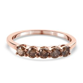 9K Rose Gold SGL Cerified Champagne Diamond (I3) 5-Stone Ring 0.50 Ct.