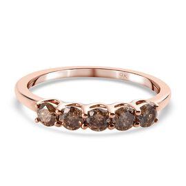 9K Rose Gold SGL Cerified Champagne Diamond (I3) 5-Stone Ring 0.50 Ct