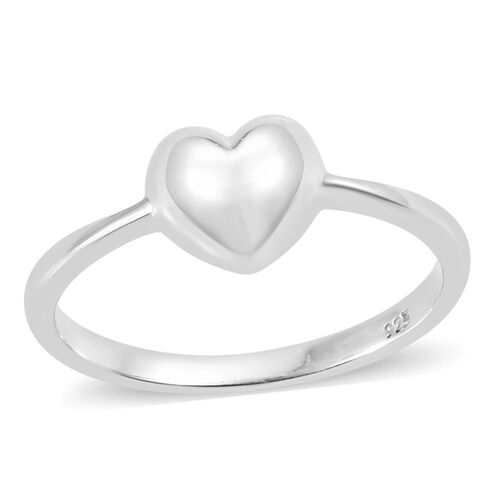 Mini Heart Promise Ring in Platinum Plated Sterling Silver