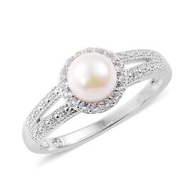 Japanese Akoya Pearl (Rnd), White Topaz Ring in Platinum Overlay Sterling Silver