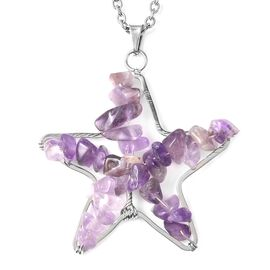 Amethyst Star Pendant with Chain (Size 24) in Stainless Steel 20.00 Ct.