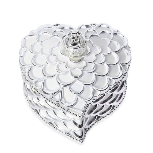 Heart Shape Rosette Texture Jewellery Storage Box with Velvet Scratch Protection and Top Lid Mirror (Size 13x13x10.5 Cm)