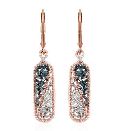 Blue Diamond (Bgt), White Diamond Lever Back Earrings in Rose Gold and Platinum Overlay with Blue Pl