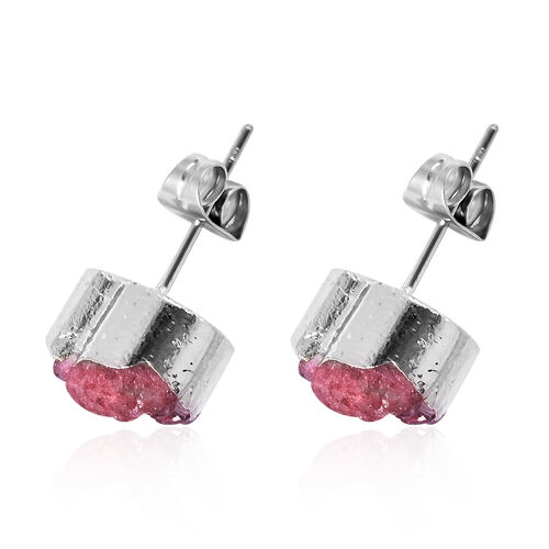 2 Piece Set - Fuchsia Druzy Quartz Heart Stud Earrings (with Push Back) and Heart Pendant with Chain (Size 20) in Silver Tone