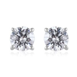 J Francis - Platinum Overlay Sterling Silver (Rnd) Stud Earrings (with Push Back) Made with SWAROVSK