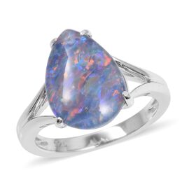Boulder Opal Solitaire Ring in Rhodium Plated Sterling Silver 3.30 Grams
